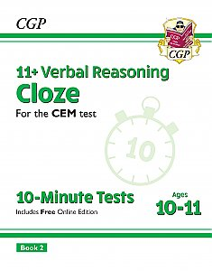 CGP - New 11+ CEM 10-Minute Tests: Verbal Reasoning Cloze - Ages 10-11 Book 2 (with Online Edition)