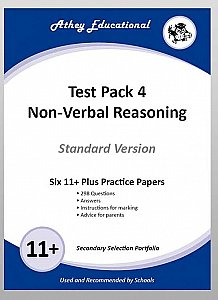 Athey Educational - 11 plus Test Pack 4 Non-Verbal Reasoning Practice Papers Portfolio, Standard