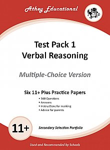 Athey Educational - 11 plus Test Pack 1 Verbal Reasoning Practice Papers Portfolio, Multiple Choice
