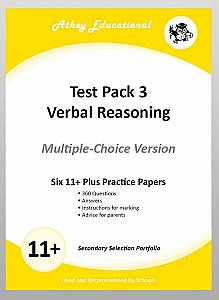 Athey Educational - 11 plus Test Pack 3 Verbal Reasoning Practice Papers Portfolio, Multiple Choice